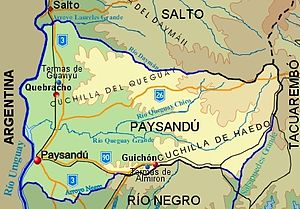 Paysandú Department - Topographic map of Paysandú Department showing main populated places and roads