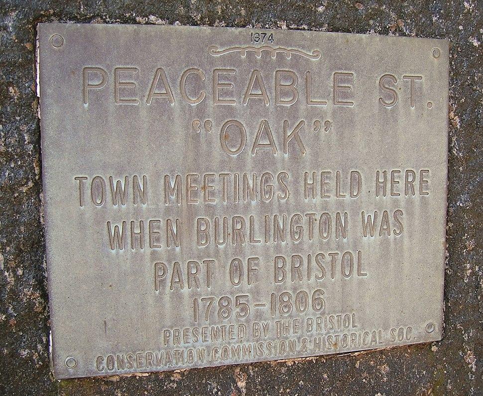 Peaceable Oak Plaque, Bristol, CT - March 11, 2012