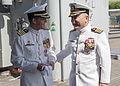 Pearl Harbor Sailors bid farewell to USS Port Royal Skipper 141031-N-IU636-204.jpg