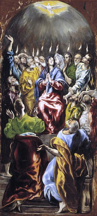Baptism with the Holy Spirit - El Greco's depiction of Pentecost, with tongues of fire and a dove representing the Holy Spirit's descent.