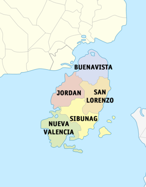 Political map of Guimaras showing its component municipalities