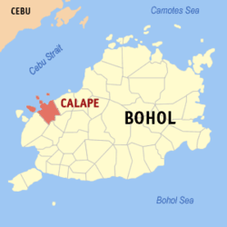 Map of Bohol with Calape highlighted