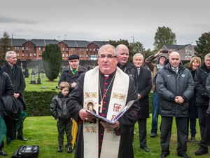 Philip Tartaglia - Philip Tartaglia, Archbishop of Glasgow and Metropolitan, gives the blessing at the unveiling of a memorial to the founding fathers of Celtic Football Club at St Peter's Cemetery, Dalbeth in Glasgow (2 November 2013)