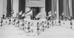 Photograph of Jefferson High School Marching Colonials Performing on the Steps of the National Archives Building on Constitution Day, 1974 (cropped).tif