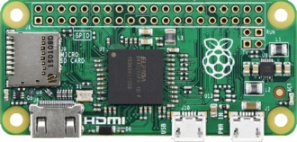 General-purpose input/output - Raspberry Pi Zero with headerless GPIO array along the top