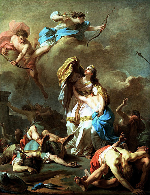 Niobe's children are killed by Apollo and Diana by Pierre-Charles Jombert Pierre-Charles Jombert - Les enfants de Niobe tues par Apollon et Diane.JPG