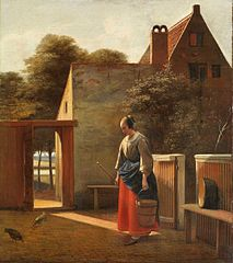 Maid with a Bucket and Broom in a Courtyard