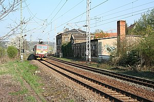 Pirna station - Old Pirna station with passing EuroCity service