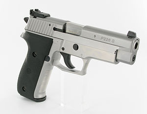 SIG Sauer P226 - A SIG Sauer P 226 S Sport Stock, an all stainless steel variant, with heavy barrel and adjustable LPA match sights.