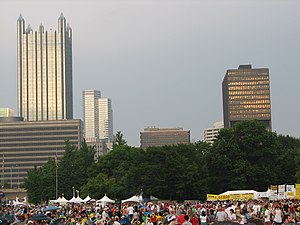 Pittsburgh Three Rivers Regatta - Festival crowd at Point State Park with the downtown Pittsburgh skyline in the background