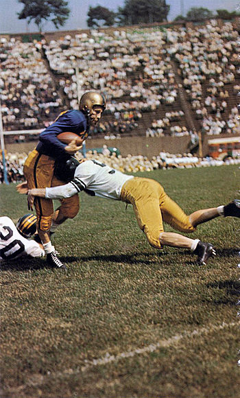 Pitt advancing the ball in a 27-7 win over Cal in a 1955 game at Pitt Stadium PittvsCal55 Owl56pg302.jpg