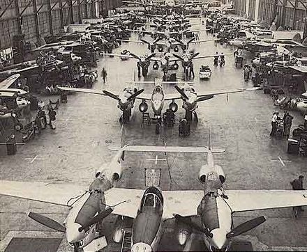 Lockheed P-38 Lightning production line in Burbank. The site is now the location of Burbank Empire Center. Planet p38a.jpg