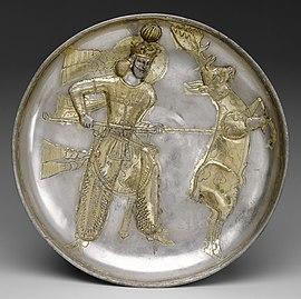 Bord, de koning Yazdgard I, die een hert doodt.jpg