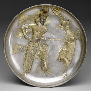 Yazdegerd I - 5th-century plate of Yazdegerd I slaying a stag