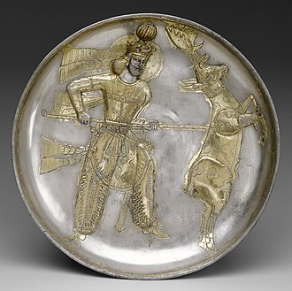 Yazdegerd I - 5th-century plate of Yazdegerd I slaying a stag