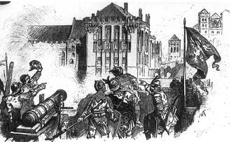 Siege of Marienburg (1410) - Image: Polish artillery during siege of Malbork in 1410