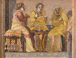 "Theatre - Mosaic depicting masked actors in a play: two women consult a ""witch"""