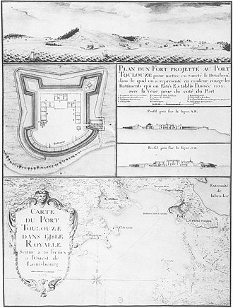 Siege of Port Toulouse - French military drawing of Port Toulouse's fortifications, c. 1734