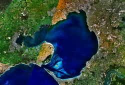 Image satellite de la baie de Port Phillip.