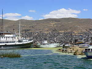 SS Ollanta - When the Ollanta was completed in 1931 she was the largest ship on Lake Titicaca. This view of the port of Puno in 2006 contrasts the size of Ollanta (left) with that of Lake Titicaca's first steamship, BAP ''Puno'' (centre, formerly SS Yapura)