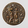 Portrait medal of an Unknown Lady (obverse); A Kneeling Man with a Basket of Fruit, Cupid, and the Caduceus of Mercury (reverse) MET DP-1241-018.jpg
