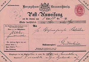 Money order - Postal money order, Duchy of Brunswick, 1867.
