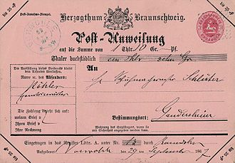 Money order - Postal money order, Duchy of Brunswick, 1867.