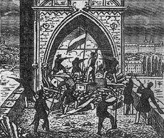 Praha Barricades Charles Bridge panel 1848