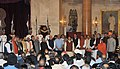 Pranab Mukherjee, the Vice President, Shri Mohd. Hamid Ansari and the Prime Minister, Shri Narendra Modi with the newly inducted Ministers after a Swearing-in Ceremony, at Rashtrapati Bhavan, in New Delhi (1).jpg