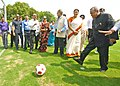 Pranab Mukherjee and the Union Minister for Human Resource Development, Smt. Smriti Irani, during the inauguration of various activities - Inauguration of Cricket Practice Pitch, Meeting Football Team (2).jpg