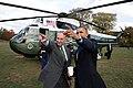 President Barack Obama is met by Sen. Chuck Schumer.jpg