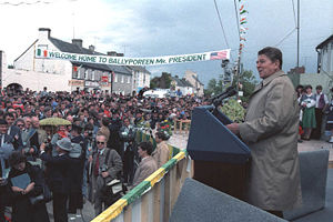 Ballyporeen - A large crowd of citizens of Ballyporeen, Ireland listen to United States President Ronald Reagan speaking in 1984.