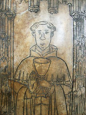 Derby Cathedral - Alabaster memorial to John Lawe, Sub-dean at Derby Cathedral, c.mid-15th century