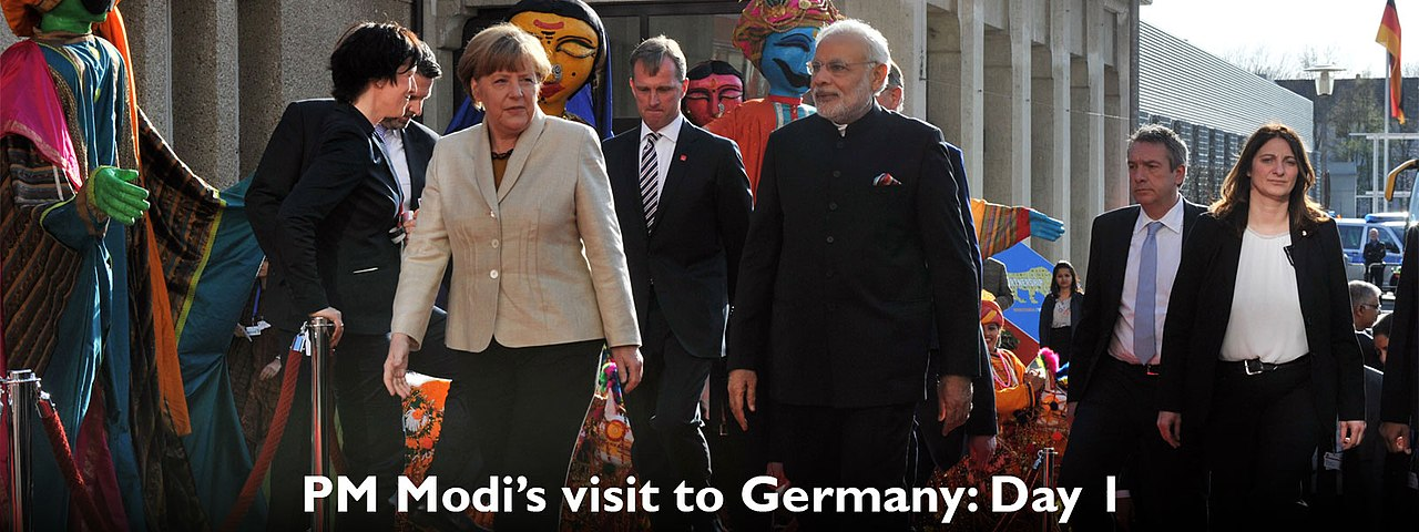 Prime Minister Narendra Modi with German Chancellor Angela Merkel on Day 1 of his state visit.jpg