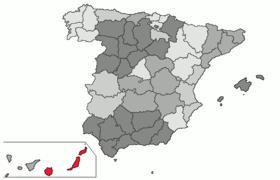 Situación de la provincia de Las Palmas en el mapa provincial de España