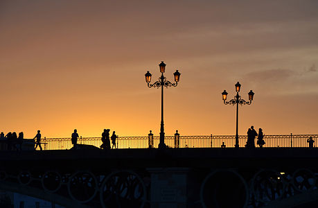 The Triana Bridge (Seville, Spain) at sunset
