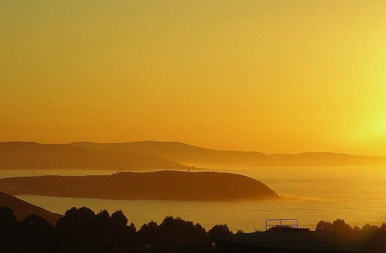 Punta Langosteira dende O Monte de San Pedro, Visma, A Coruña, Galicia (Spain)