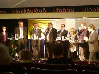 2014 European Parliament election in Finland - Hustings panel with Finnish political party chairpersons and top candidates on Europe Day 2014. Left to right: Sari Essayah, Mikael Pentikäinen, Jyrki Katainen, Timo Soini, Carl Haglund, Liisa Jaakonsaari, Paavo Arhinmäki, Ville Niinistö.