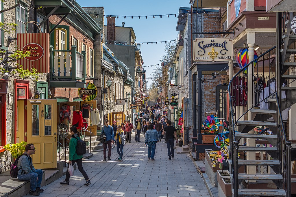 a busy Quartier Petit Champlain, commercial center in Old Quebec
