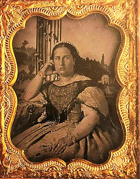 Queen Maria II (daguerreotype), around age 30, 1849. Queen Maria II of Portugal (daguerreotype).jpg