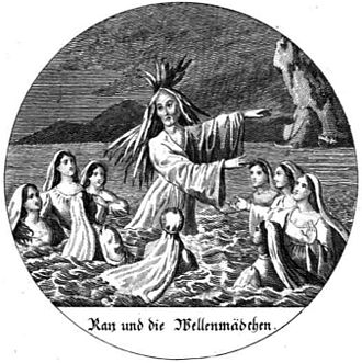 "Rán - ""Rán and the Wave Girls"" (1831) from Alkuna: Nordische und nordslawische Mythologie."