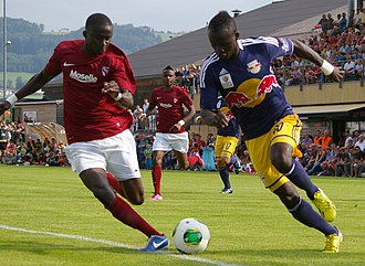 Sadio Mané - Mané (right) playing for Red Bull Salzburg in 2013