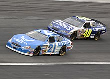 Winner Jimmie Johnson battling with Ricky Rudd during the race