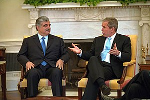 Rafic Hariri - George W. Bush and Hariri meeting in the White House