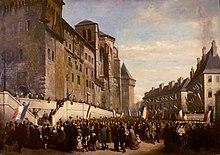Peinture des Savoyards rassemblés devant le château de Chambéry lors de l'annexion de la Savoie à la France en 1860