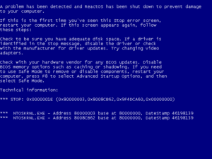 Blue Screen of Death - ReactOS, an attempt at creating a free and open-source implementation of a Windows NT-compatible operating system, also features its own BSoD similar to the one in the Windows NT family.