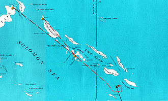 Battle of Rennell Island - Chart of Japanese air attack (dashed red line) on U.S. Task Force 18 (solid black line) between Rennell Island and Guadalcanal on the evening of 29 January 1943