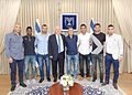 Reuven Rivlin with Israeli footballers.jpg