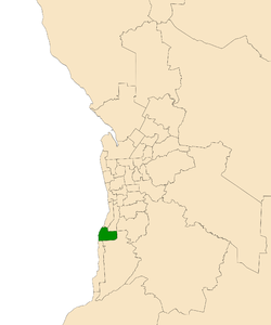 Map of Adelaide, South Australia with electoral district of Reynell highlighted