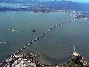 Richmond–San Rafael Bridge - View southwest from above Richmond